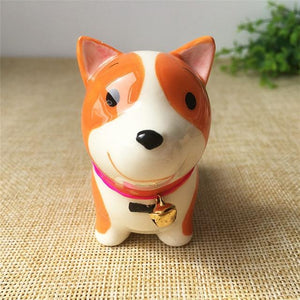 Cute Ceramic Car Dashboard / Office Desk Ornament for Dog LoversHome DecorCorgi