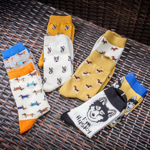 Cute Husky Pattern Socks - 2 PairsSocks
