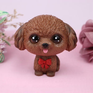 Cutest Boston Terrier Love Miniature BobbleheadCar AccessoriesToy Poodle - Brown