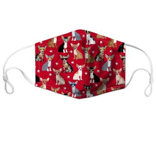 Load image into Gallery viewer, Cutest Chihuahuas with Hearts & Cupcakes Face Mask - Series 1AccessoriesChihuahua on Red BGCHINA