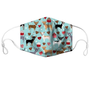Cutest Chihuahuas with Hearts & Cupcakes Face Mask - Series 1AccessoriesChihuahuas with Hearts & CupcakesCHINA