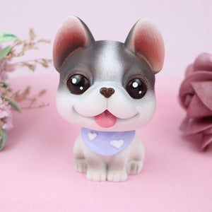 Cutest Fawn / White French Bulldog Love Miniature BobbleheadCar AccessoriesBlack and White Pied French Bulldog