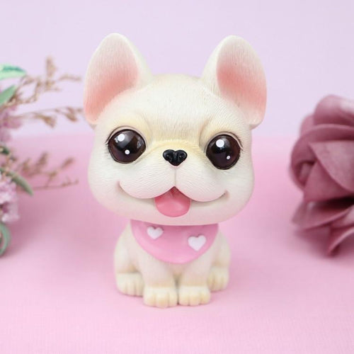 Cutest Fawn / White French Bulldog Love Miniature BobbleheadCar AccessoriesFawn / White French Bulldog