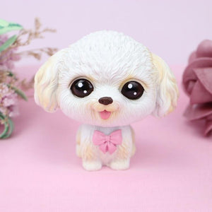 Cutest Fawn / White French Bulldog Love Miniature BobbleheadCar AccessoriesToy Poodle - White