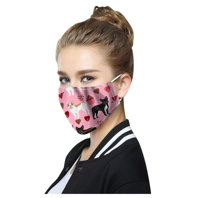 Cutest French Bulldogs with Hearts & Cupcakes Face Mask - Series 1Accessories