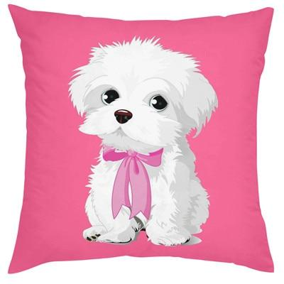 Cutest Maltese Love Cushion CoversCushion CoverMaltese - Standing on Pink BGOne Size
