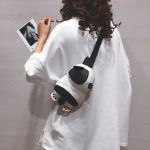 Load image into Gallery viewer, Cutest Pied Black and White French Bulldog Love Messenger BagAccessories