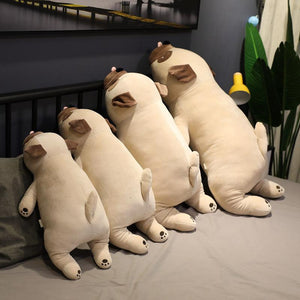 Image of four Pug stuffed animals soft plush toys back view