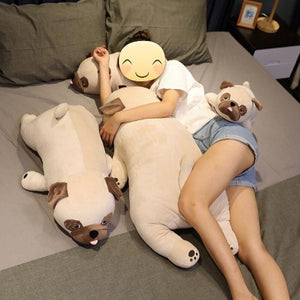 Image of a girl sleeping on the bed next to four Pug stuffed animals soft plush toys in different sizes