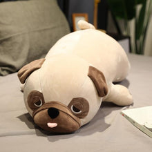 Load image into Gallery viewer, Image of a Pug stuffed animal soft toy lying on the bed