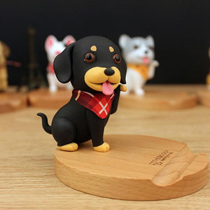 Cutest Pug Office Desk Mobile Phone HolderHome DecorDachshund - Red Scarf