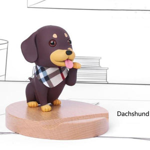 Cutest Pug Office Desk Mobile Phone HolderHome DecorDachshund - White Scarf