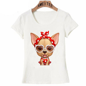 Cutest Red and White Polka-dotted Chihuahua Womens T ShirtApparel