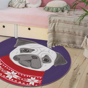 Cutest Red Sweater Pug Floor RugHome DecorPugSmall