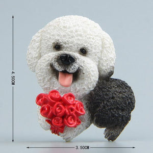 Cutest Rough Collie Fridge MagnetHome DecorBichon Frise with Flowers