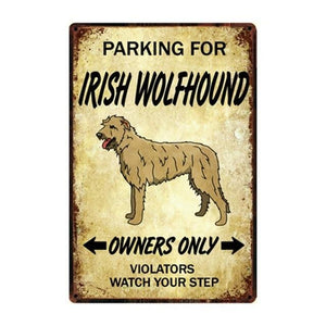 Dachshund Love Reserved Parking Sign BoardCarIrish WolfhoundOne Size