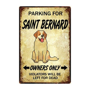 Dachshund Love Reserved Parking Sign BoardCarSaint BernardOne Size