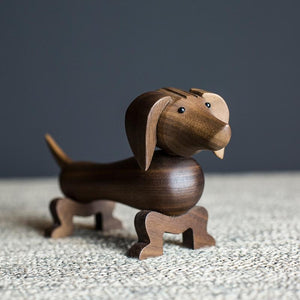 Dachshund Love Walnut Wood StatueHome Decor
