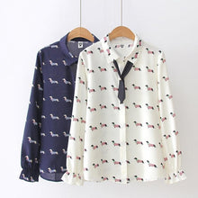 Load image into Gallery viewer, Dachshund Print Womens Chiffon Blouse ShirtShirt