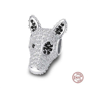 Doberman Love Silver Charm BeadDog Themed Jewellery