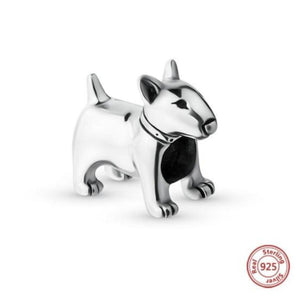 Doberman Love Silver Charm BeadDog Themed JewelleryBull Terrier - Standing