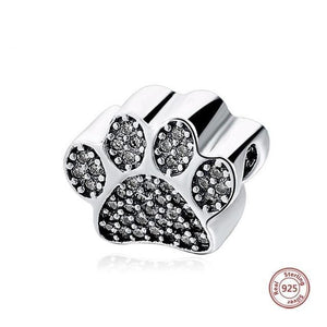 Doberman Love Silver Charm BeadDog Themed JewelleryDog Paw