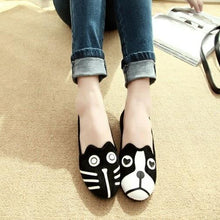Load image into Gallery viewer, Dog and Cat Face Womens FlatsShoes