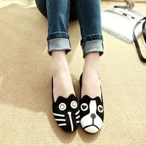 Dog and Cat Face Womens FlatsShoes