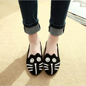 Dog and Cat Face Womens FlatsShoesOnly Cat5