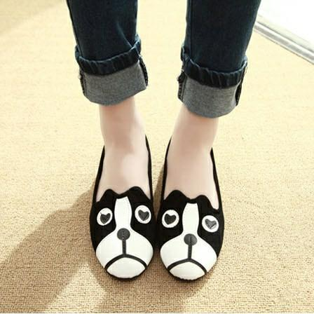 Dog and Cat Face Womens FlatsShoesOnly Dog5