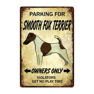 Doggo Love Reserved Parking Sign BoardsCarSmooth Fox TerrierOne Size
