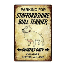 Load image into Gallery viewer, Doggo Love Reserved Parking Sign BoardsCarStaffordshire Bull TerrierOne Size