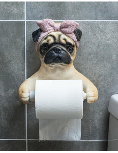 Doggo Love Toilet Roll HolderHome DecorBowtie Headscarf Pug