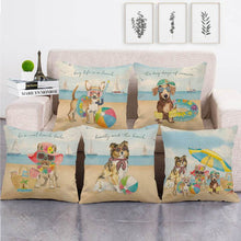 Load image into Gallery viewer, Doggos Day at The Beach Cushion Covers - Chihuahua, Dachshund, French Bulldog & Rough CollieCushion Cover