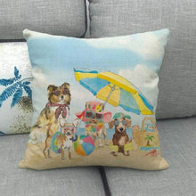 Load image into Gallery viewer, Doggos Day at The Beach Cushion Covers - Chihuahua, Dachshund, French Bulldog & Rough CollieCushion CoverAll Together