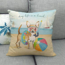 Load image into Gallery viewer, Doggos Day at The Beach Cushion Covers - Chihuahua, Dachshund, French Bulldog & Rough CollieCushion CoverChihuahua - Dog Life is a Beach