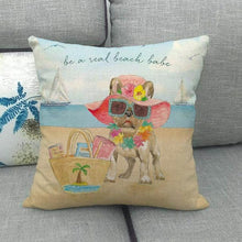 Load image into Gallery viewer, Doggos Day at The Beach Cushion Covers - Chihuahua, Dachshund, French Bulldog & Rough CollieCushion CoverFrench Bulldog - Real Beach Babe