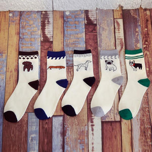 Embroidered Womens Dog Lover Cotton SocksSocks