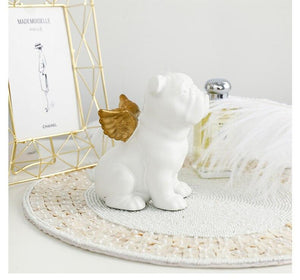 English Bulldog Love Gold Plated Ceramic StatuesHome Decor