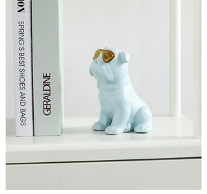 English Bulldog Love Gold Plated Ceramic StatuesHome DecorLight Blue