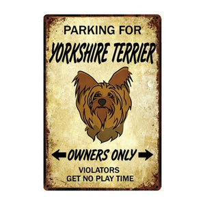 English Bulldog Love Reserved Parking Sign BoardCarYorkshire Terrier / YorkieOne Size