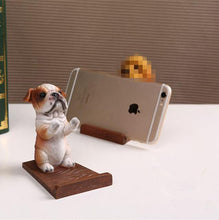 Load image into Gallery viewer, English Bulldog Love Resin and Wood Cell Phone HolderCell Phone AccessoriesEnglish Bulldog