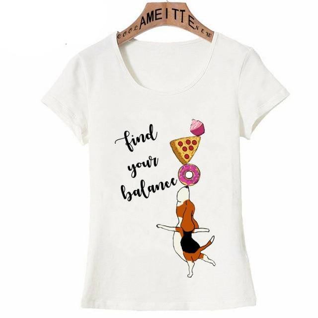 Find Your Balance Beagle Womens T ShirtApparelWhiteS
