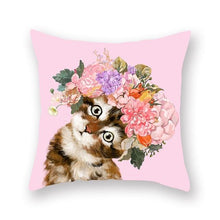 Load image into Gallery viewer, Floral Tiara Pug and Friends Cushion CoversCushion CoverOne SizeCat