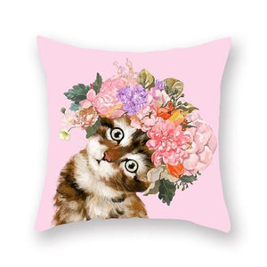 Floral Tiara Pug and Friends Cushion CoversCushion CoverOne SizeCat