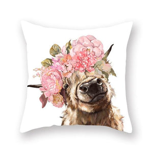 Floral Tiara Pug and Friends Cushion CoversCushion CoverOne SizeCow - Pink Flowers