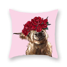 Load image into Gallery viewer, Floral Tiara Pug and Friends Cushion CoversCushion CoverOne SizeCow - Red Flowers