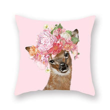 Load image into Gallery viewer, Floral Tiara Pug and Friends Cushion CoversCushion CoverOne SizeDeer