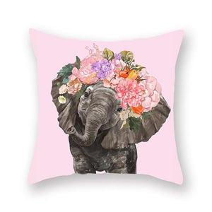 Floral Tiara Pug and Friends Cushion CoversCushion CoverOne SizeElephant