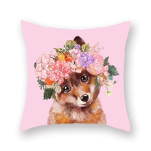 Load image into Gallery viewer, Floral Tiara Pug and Friends Cushion CoversCushion CoverOne SizeFox